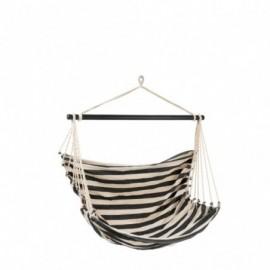 Chaise suspendue lignes coton noir et blanc