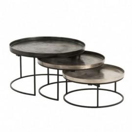 Set De 3 Table Gigogne Ronde Aluminium Noir