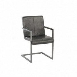 Chaise Cuir et Metal Gris