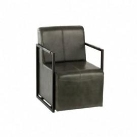 Chaise Cuir et Metal Vert...
