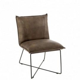 fauteuil Cuir et Fer Gris-Vert
