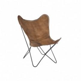 fauteuil Cuir et Metal Cognac