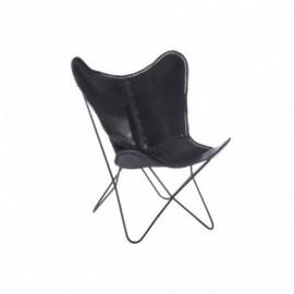 fauteuil Cuir et Metal Noir