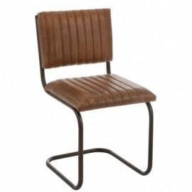 Chaise en Cuir et Metal Cognac