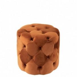 Pouf Boutons Velours Orange