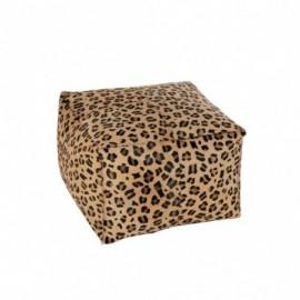Pouf Leopard en Cuir