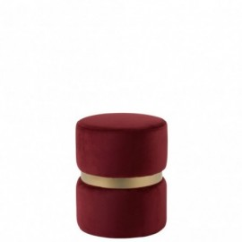 Pouf Rond Velours Rouge et Or