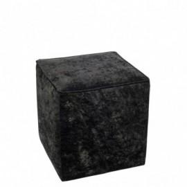 Pouf carré velours noir 35cm