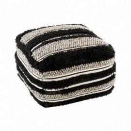 Pouf fluffy laine noir et...