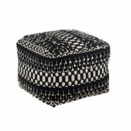 Pouf perles coton noir et...