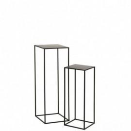 Selette x2 carrée métal noir
