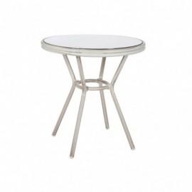 Table d'appoint hilda en aluminium gris plateau verre 70cm