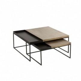 Table de salon x2 métal or...