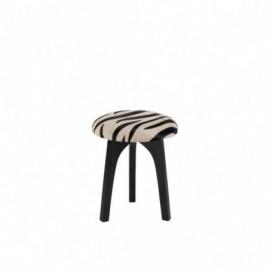 Tabouret rond cuir zebre noir