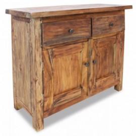 Buffet bas en bois de récupération massif 2 tirroirs 2 portes 75 x 30 x 65 cm