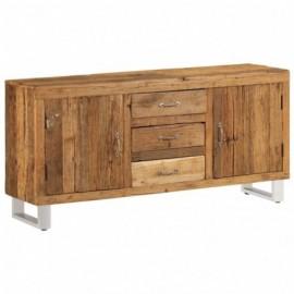 Buffet bas en bois de récupération solide 3 tirroirs 2 portes 160 x 40 x 76 cm
