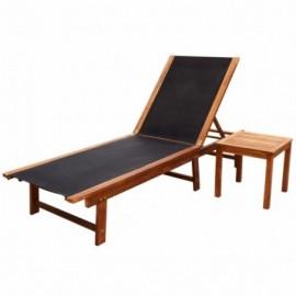 Chaise longue acacia et...