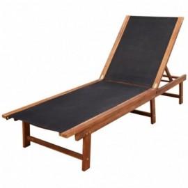 Chaise longue en acacia et...