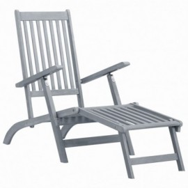 Chaise longue en acacia gris
