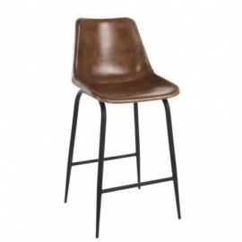 Chaise de bar cuir en métal cognac hauteur 99cm