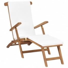 chaise longue en teck et...