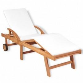 chaise longue teck coussin...