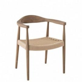 Chaise de table bernard en bois et textile couleur bois naturel