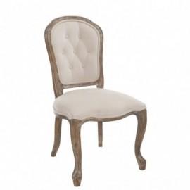 Chaise de table boutons louisa en chêne et frêne tissu velours beige
