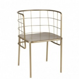 Chaise de table cuve métal or